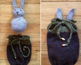 "Hand Knit Stuffed Animal Toy - Plush Bunny, 5"" tall (13cm) AND Her Own Rabbit Hole"