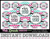 "Sister Sayings Chevron Pink/Aqua - INSTANT DOWNLOAD 1"" Bottle Cap Images 4x6 - 962"