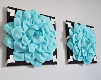 Moroccan Style Wall Art Set, Handmade Aqua Dahlias on quatrefoil print, black quatrefoil wall hangings, moroccan home decor, Dorm Decor