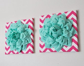 "Two Wall Flowers -Mint Dahlia Flowers on Hot Pink and White Chevron 12 x12"" Canvas Wall Art- Baby Nursery Wall Decor-"