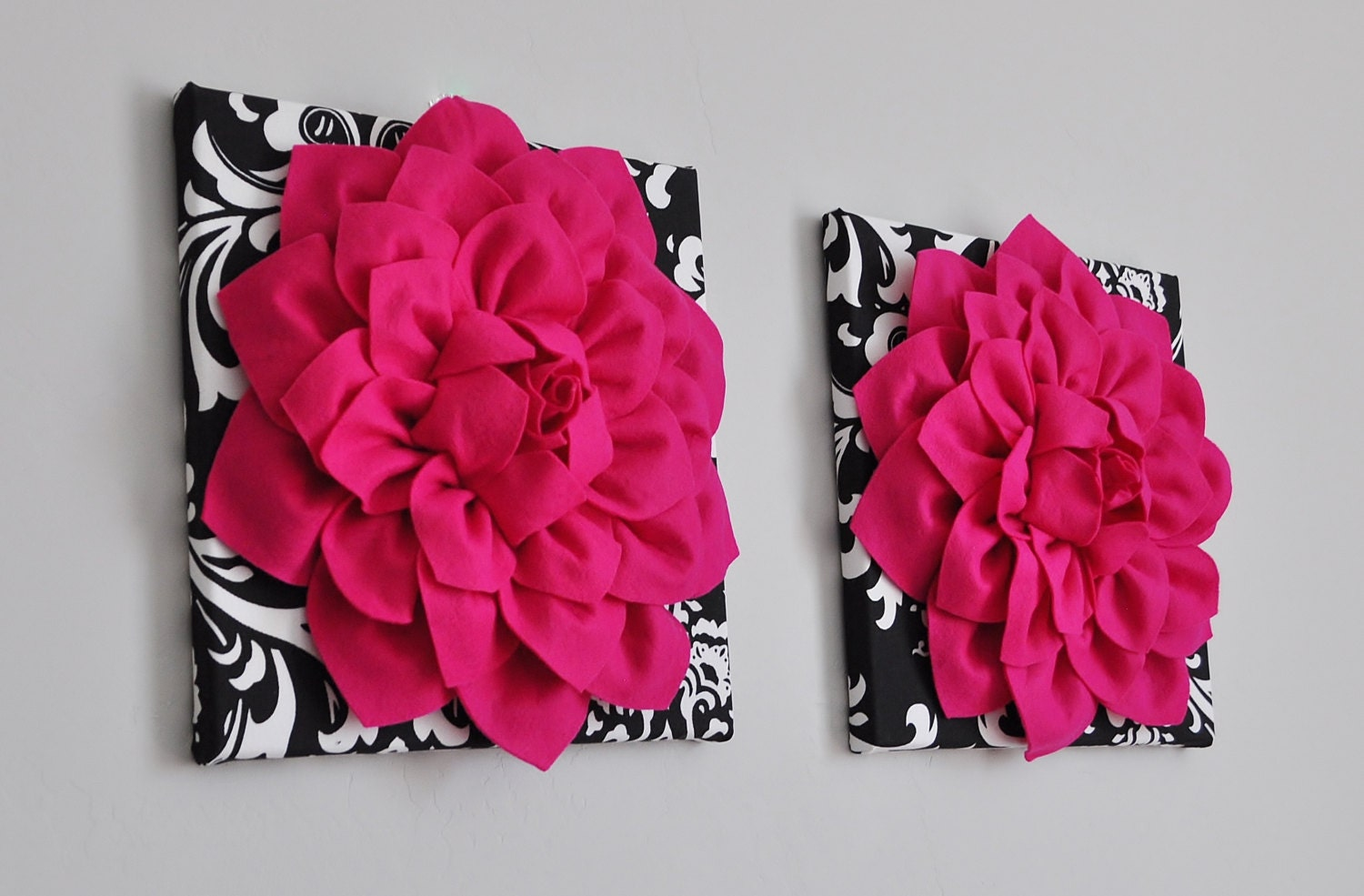 Two wall flowers hot pink dahlia flowers on black and white zoom dhlflorist Choice Image