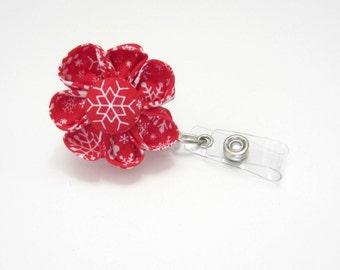 Badge Reel, Retractable ID Holder, Badge Holder, Lanyard, Red & White Snowflake Badge Reel, Christmas Badge Reel