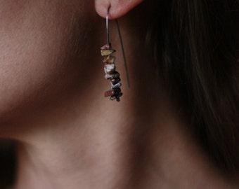 Rhyolite  sterling silver open hoop earrings
