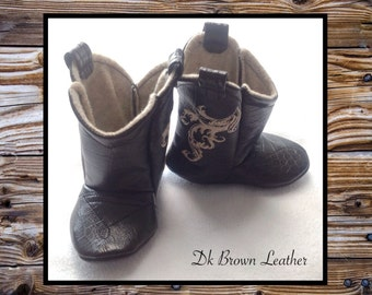 Baby Leather Cowboy Boots | Choose your Leather & Stitching Color | Newborn size up to 24 Months