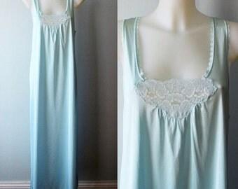 Vintage Blue Nightgown, Lov Lee, 1980s Nightgown, Vintage Nightgown, Vintage Lingerie, Nightgown