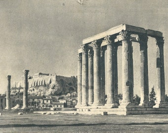 Vintage Black and White photo Postcard from Greece - Temple of Jupiter & Acropolis  used