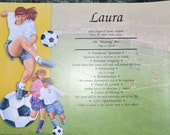 """Personalized Your Child's NAME MEANING GIFT """" Girls Soccer""""  8.5 X 11 Ships in 24hrs"""