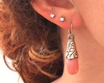 Pink Peruvian Opal Sterling Earrings Teardrop Tibetan Style