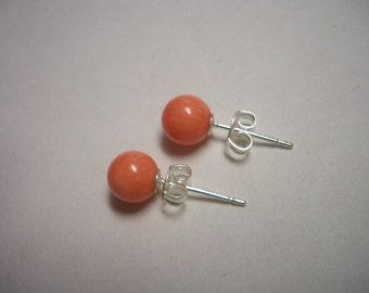 Pink coral earrings, silver stud earrings, 6mm pink coral beads, 6mm beads, sterling silver stud earrings, natural coral, orange, pink coral