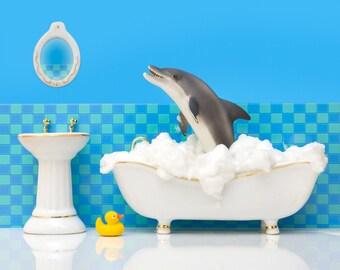 Dolphin bathroom art print: Splashdown