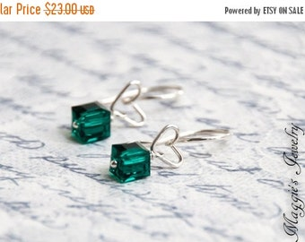 ON SALE Heart Earrings, Sterling Silver, Emerald, Geometric, Modern, Love, Valentines Day Gift, Bridal, Bridal Party, May Birthstone Earring