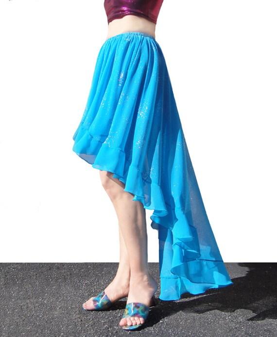 ameynra fashion high low skirt light blue asymmetrical size s