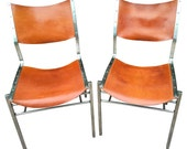 Leather Side Chairs with Stainless Steel Frames from Michael Ryan Co, Pair