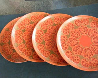 4 plastic Miramar Melmac small dessert size plates orange