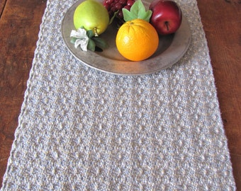 Rustic Cottage Farmhouse Decor Table Runner, Spring Summer Rustic French Country Home Decor, Handwoven Light Blue Cotton Table Centerpiece