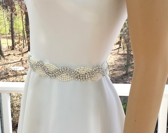 Ivory Bridal Sash, White Bridal Sash, Ivory Bridal Belt, White Bridal Belt, Rhinestone Pearl Sash, Art Deco Wedding, Bridal Belt Sash