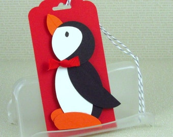 Christmas Gift Tags Handmade Xmas Penguin Tags Christmas Penguin Ornaments Your Choice of One Three or Eight Tags  For Child or Adult Unisex