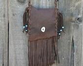ON SALE Fringed leather crossbody bag ,  Buckskin leather purse , Brown handbag , Leather handbag