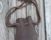 ON SALE Small leather pouch ,  Leather drawstring pouch ,  Buckskin leather bag