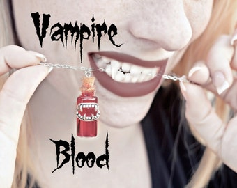 Vampire Necklace - Vampire Jewelry - Red Blood Vial Necklace - Halloween Jewelry - Halloween Necklace - Vampire Costume Jewelry For Women