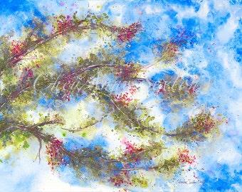 Tree watercolor art Cobalt Blue Pink Tree Clear Bright windblown watercolor Fine Art Giclee Prints