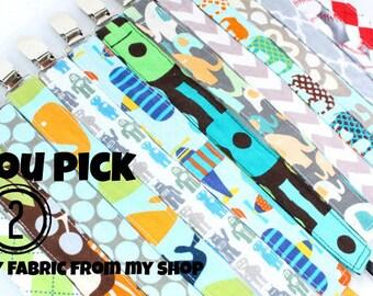 Sale- Pacifier Clip, Fabric Pacifier Clip, Pacifier Clip, Choose Any 2 Pacifier Clip Set- Pacifier Clip Bundle Set- boy pacifier clip holder