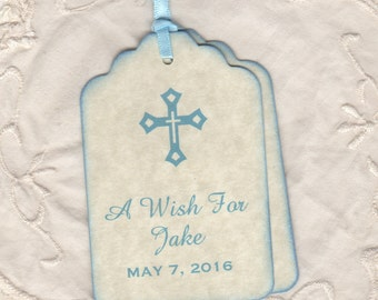 Custom Listing For Lisa - 100 Baby Boy Baptism Wish Tags, Baby Advice Favor Tags, Personalized Blue Cross Design Tags - Vintage Style