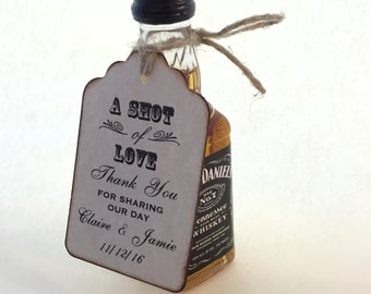 100 custom Shot Of Love Wedding Favor Tags / Place Cards / Thank You / Shot Glass Tags / Liquor Or Wine Bottle Labels - Vintage Style
