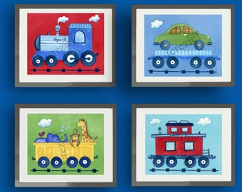 Train nursery art, train bedding art prints, children wall art decor, train kids art prints, kids wall art