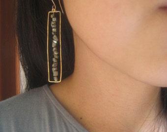 gold dangle pyrite gold bar earrings - gold hoop earrings, pyrite gold dangle earrings, pyrite gold square hoop earrings