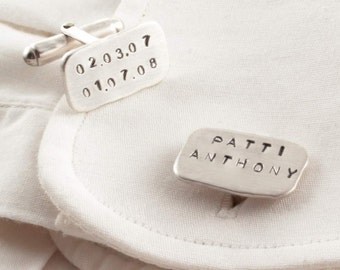 Personalised Cufflinks Sterling Silver , Hand stamped Cufflinks , Engrave cufflink, Custom Cufflinks , Groom Cufflinks , wedding Cfflinks