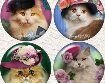 "Kitty Coasters, Cats in Hats, Set of  4 - 3.5"" in Size  Buy 3 Sets Get 1 Full Set Free  047C"