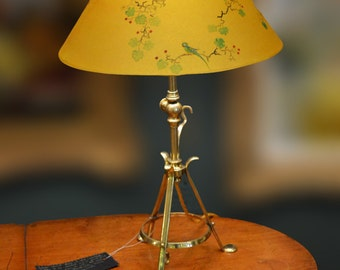 The Lacoona Secret Garden lamp - an antique Pullman lamp with a hand painted Chinoiserie inspired lampshade
