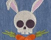 Skully Bunny (Rabbit Skull) Embroidered Cotton Kitchen Towel, Fun Skull Design