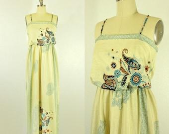 1970's Paisley Maxi Sun Dress S M Boho