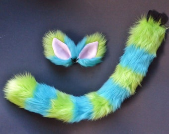 Lime Green and Turquoise Blue Cat Costume Set Ears Tail Halloween Cosplay
