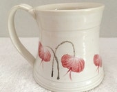 Clay, coffe cup, hot chocolate mug, tea cup, ceramic tea cup, hand painted withe red and white velvet underglaze.