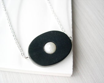 Simple Wood Necklace - White Pearl Jewelry, 5th Anniversary Gift, Modern, Ebony Brown, Nickel Free Sterling Silver Option