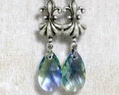 Fleur De Lis Earrings Lavender Swarovski Earrings Two Tone Earrings Romantic Earrings Swarovski Jewelry Tear Drop Earrings French Jewelry