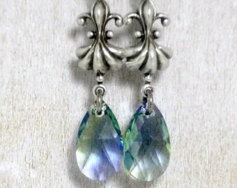 Fleur De Lis Earrings - Iridescent Earrings - Lavender Victorian Jewelry - Leverback Earrings - Romantic Earrings - Swarovski Jewelry
