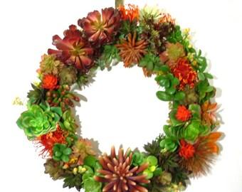"""Large 24"""" Faux Succulent Front Door Wreath, Artificial Succulent Door Wreath, Year Round Faux Succulent Front Door Wreath"""