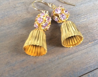 Gold rhinestone earrings. Unique and fun to wear.