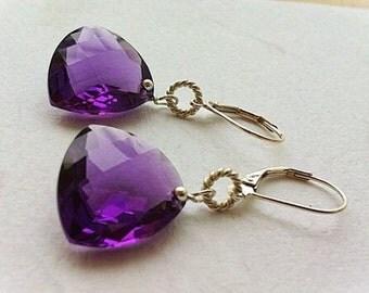 Luxury Purple Amethyst Gemstone Earrings in Sterling Silver