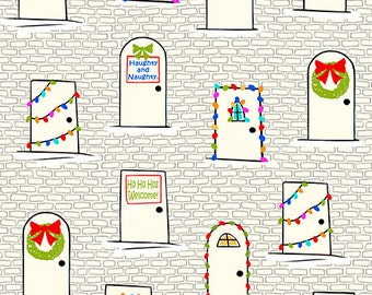 Christmas Doors on Ecru - Naughty or Nice from Ink and Arrow - Full or Half Yard Decorated Doors