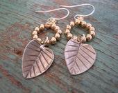 Leaf dangle earrings - Aspen - gold, sterling silver, nature, drop earrings, botanical gift for her, dainty boho jewelry, bohemian jewelry