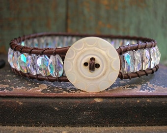 Crystal leather bracelet - Claire - boho jewelry, vintage mother of pearl button, Edwardian wrap bracelet, layering stack, vintage beads