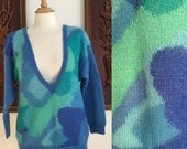 ON SALE Vintage 80s / Jeanne Pierre / Blue and Green / V Neck / Mohair / Sweater / Medium