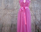 ON SALE Vintage 60s / Hot Pink / Cupcake / Lace and Ribbon / Chiffon / Dolly / Maxi / Nightgown / SMALL