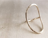 Oval Circle Hammered Ring