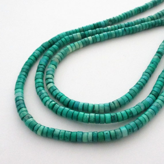"Green Heishi Disc Beads - Gemstone Disk Round Beads - Small Center Drilled Beads - 16"" - 4mmx2mm - DIY Jewelry Projects"
